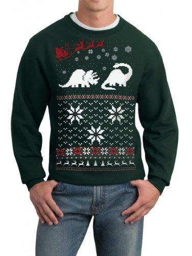 Skip N' Whistle Adult Ugly Christmas Sweater Santa Dinosaur Pullover Sweatshirt XXL Forest -