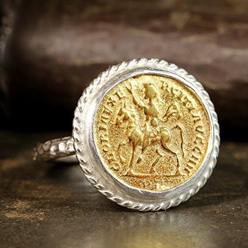 925 Solid Sterling Silver 24K Yellow Gold Vermeil Ancient Roman Byzantium Greek Art Handcrafted Artisan Hammered Coin Ring ()