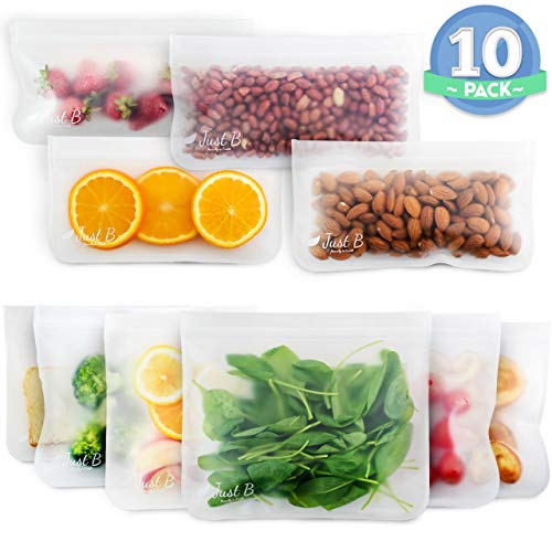 Just B Reusable Zip-lock Sandwich Bags - Extra Thick Sandwich and Food Pouch for Vegetables, Fruits, Biscuits and Snacks - Leakproof Lunch PEVA Container - Easy to Wash, Tear-Resilient, No BPA or Lead