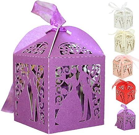 Greenmigo 50 Piezas Caja para Caramelos Regalo Bombones Recuerdos de Bautizos Bodas con Cinta,Corte Láser de Dulces Cajas de Regalo el Favor de la Boda(Purple): Amazon.es: Hogar