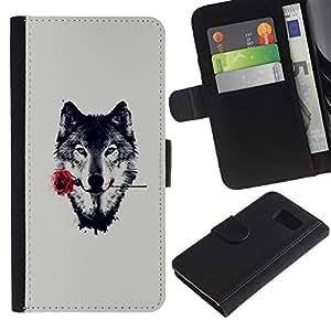 JackGot ( Lobo con Rose ) Samsung Galaxy S6 la tarjeta de Crédito Slots PU Funda de cuero Monedero caso cubierta de piel