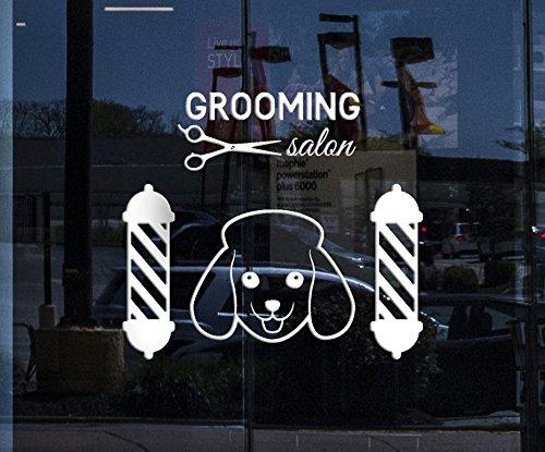 - Window Sign Vinyl Wall Decal Grooming Pet Dog Logo Beauty Salon Scissors Stickers (2181igw) WHITE 22.5 in x 25 in