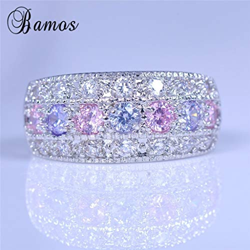 Naomi Bamas Princess 925 Silver Ring,Witness Love When Amethyst Meet Pink Sapphire,What a Charming. Multi-Color 8
