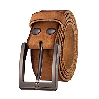 """KEEPBLANCE Men's Leather Belt – Made by Italy First Layer of Cow Leather (1.5"""" Width) (30-32, Brown)"""
