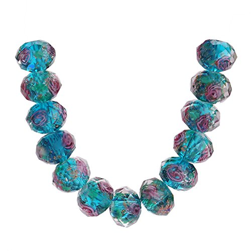 20Pcs Handmade Faceted Glass Rondelle Charms Rose Flower Inside Lampwork Loose Beads Lot Color (8mm, Peacock Blue)