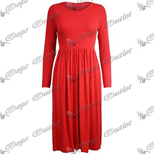 Be Jealous Femmes Manches Longues Franki Femmes Swing Évasé Midi Robe Patineuse Plus - Rouge, 44-46
