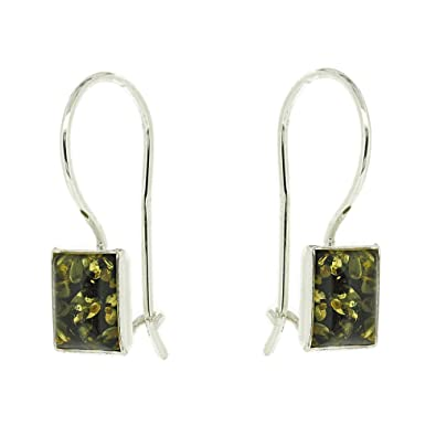 Nova Silver Classic Amber Rectangle Shape Cognac Amber Drop Earrings ujhjX
