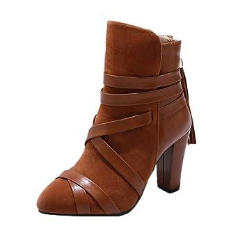 Logobeing Zapatos Mujer Botines Mujer Tacon Medio Planos Invierno Alto Botas de Mujer Casual Plataforma Nieve Ante Altas Botas de Cordones Calientes Altas ...