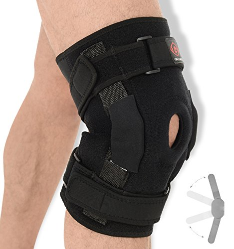 de3f764b79 Gallant Hinged Knee Support - Dual Stabilized Hinges with Open Patella  Design Helps Injured Arthritis Knee, Strain, Sprains, Instability  Pains/Adjustable ...