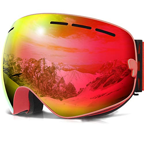 (COPOZZ Ski Goggles, G1 Mens Womens Ski Snowboard Snowboarding Goggles - Over Glasses Double Lens Anti Fog Frameless,Cool REVO Mirror Red for Men Women Youth Snowmobile Skiing)