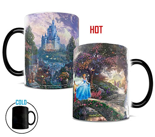 Morphing Mugs Thomas Kinkade Disney Princess Cinderella Wishes Upon a Dream Painting Heat Reveal Ceramic Coffee Mug - 11 Ounces]()