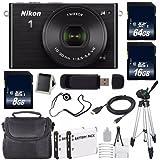 Nikon 1 J4 Mirrorless Digital Camera with 10-30mm Lens (Black) (International Model No Warranty) + EN-EL22 Battery + 88GB Total Memory + 6AVE Bundle