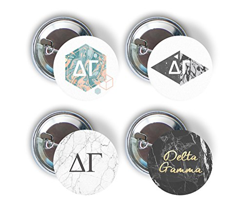 Delta Gamma Sorority Marble Variety Pack of Buttons Pin Back Badge 2.25-inch DG - Marble Pack ()