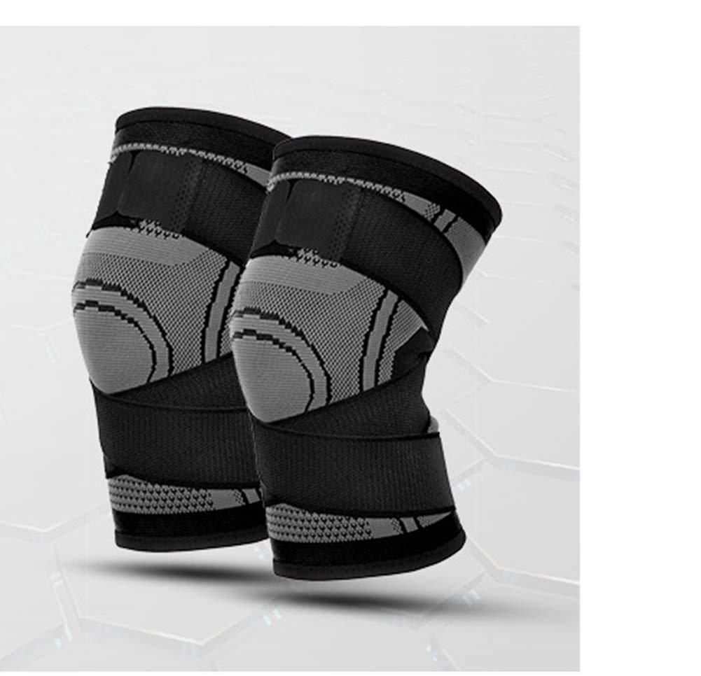 Knieunterstützung (1 Stück), Männer Und Frauen Sportbasketball Stricken Vierseitige Elastische Bandagen Knieschützer Outdoor-Klettern Fitness-Laufbekleidung,L