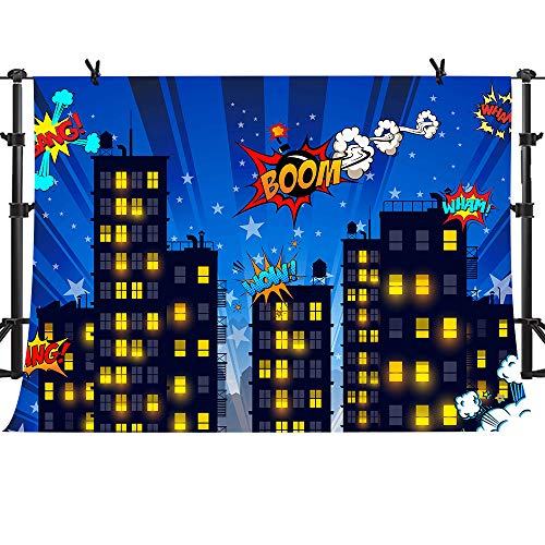 Superhero Cityscape Photography Backdrop 10x7ft Great as Super Hero City Photo Booth Background Birthday Party MME Background ZYME0353]()