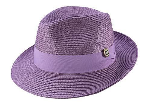 MONTIQUE Men's Wide Snap Brim Pinch Fedora (Large, Purple)]()