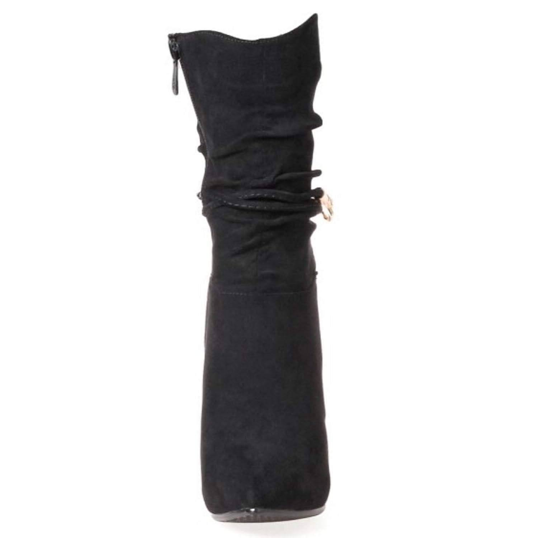 RAZAMAZA Damen Mode Halbschaft Hoch Absatz Stiefel Riding Boots (32 As, Black)