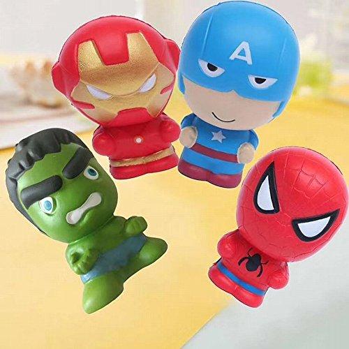 5431a5a41 4pcs Set 11cm Kawaii Marvel Super Hero Squishy Toy Hulk Spiderman Iron Slow