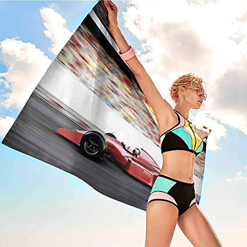 Antonia Reed Extra Large Personalized Towel for Kids Cars,Motor Sports Red Race Car Side View on a Track Leading The Pack with Motion Blur,Gray Red Black,for Adults Toddler Baby Boys Girls28 x55 inch