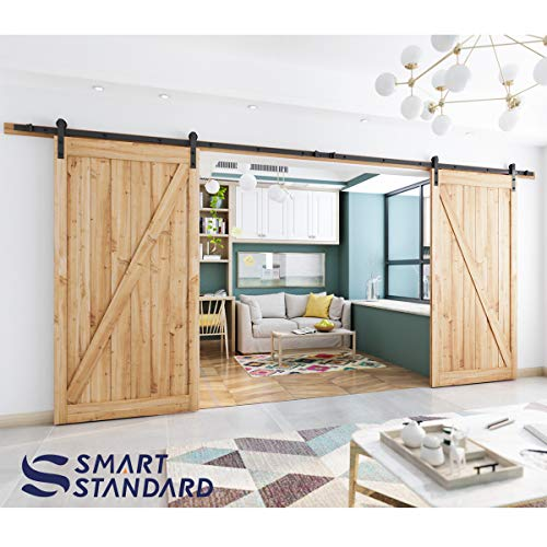 16ft Double Door Sliding Barn Door Hardware Kit - Super Smoothly and Quietly - Simple and Easy to Install - Includes Step-by-Step Installation Instruction -Fit 42