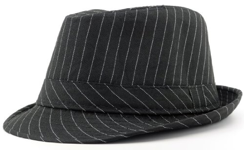 Subtle Addition Fedora/Trilby Hat for Kids (Black Pinstripe) (Cap Stripe Hat)