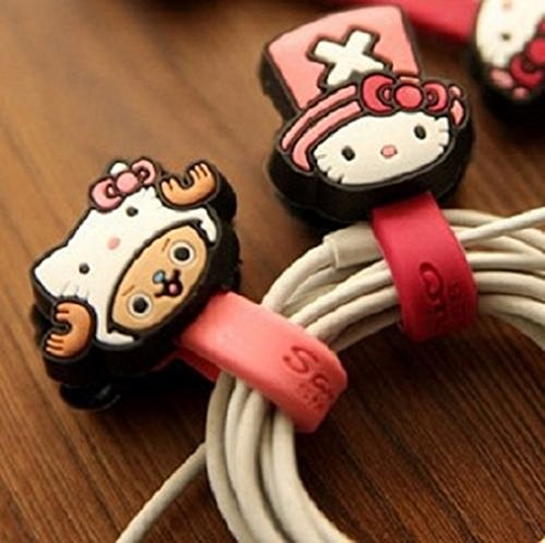 [Hello Kitty with Hat Cable Cord Organizer Headset Wrap Winder-set of 2 -Random] (Melody Costume)