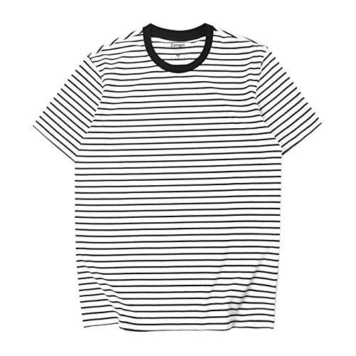 - Zengjo Essential Stripes T-Shirts Comfort Short-Sleeve Crew-Neck Striped Tee Top (M, White&Black Narrow)