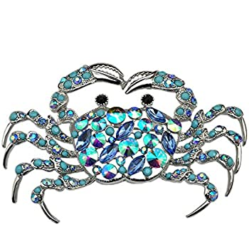 Lovely TTjewelry Elegant Silver Tone Crab Brooch Pin Blue Rhinestone Crystal  Jewelry