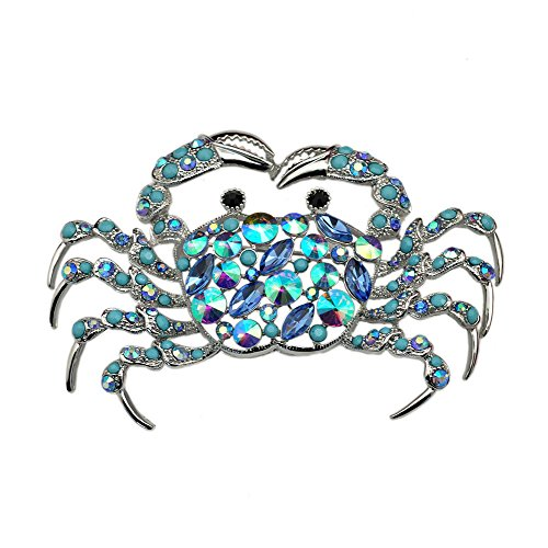 TTjewelry Elegant Silver-Tone Crab Brooch Pin Blue Rhinestone Crystal Jewelry