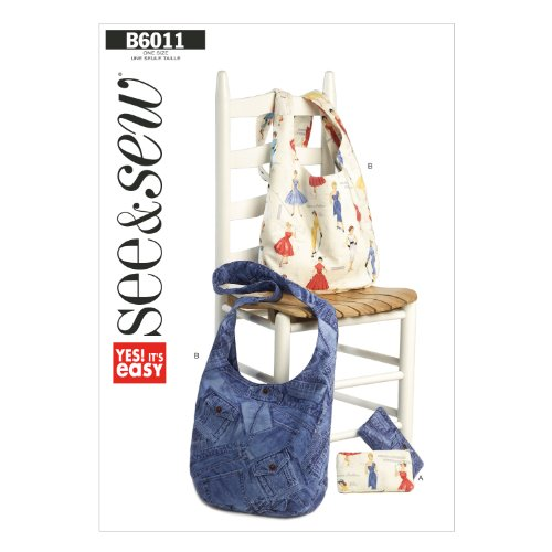 Bag Purse Sewing Pattern - Butterick Patterns B60110A0 Cosmetic and Hobo Bags Sewing Template, Size A (One Size)