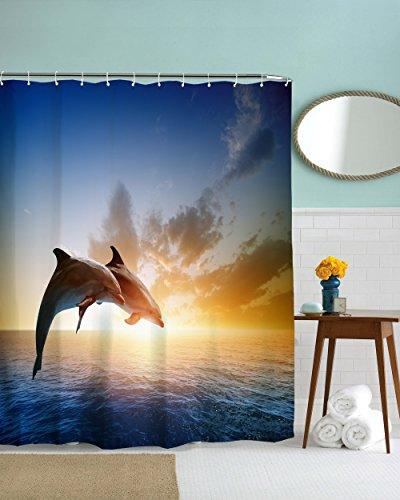 (MYUYUM Shower Curtain, Couple Dolphin European Style Bathroom, Lovely Decor Pleasing Peculiar Design Shower Curtain (71 X 71in))