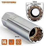 "TOYOTERU Magnetic Spark Plug Socket Thin Wall 3/8"" Drive 12- point 14mm For BMW Nissan Mini Series"