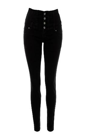 6cfb591f0740 Women s High Waist 4 Button Skinny Jeans Jeggins Ladies Denim Clothing 6 8  10 12 14 Ladies denim wear