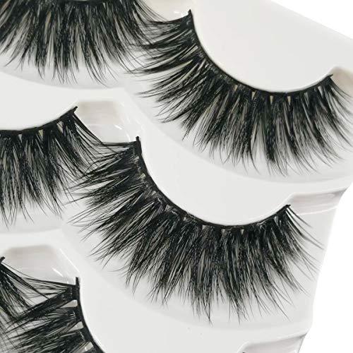 c9d4cc00da6 JIMIRE Fake Eyelashes 3D Natural Lashes Pack Reusable False Eyelashes 3  Pairs