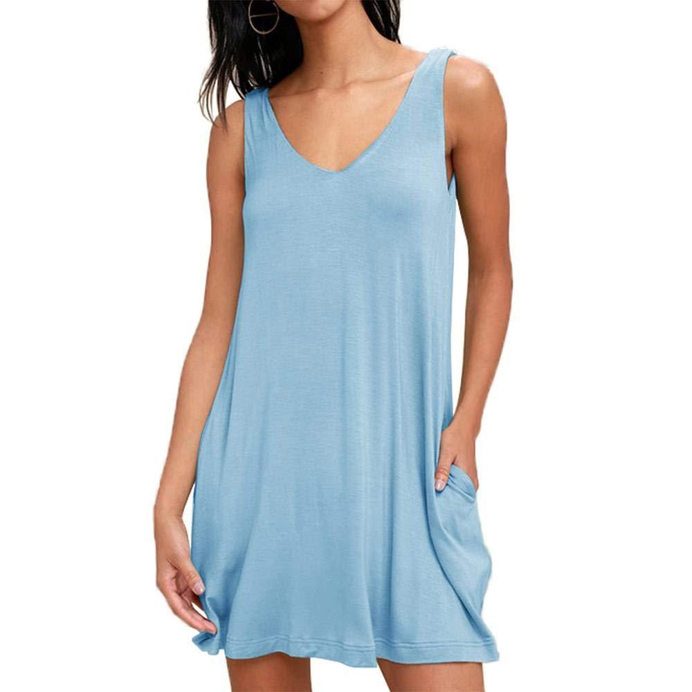Light bluee OMyAngel Women's Sleeveless V Neck Swing T Shirt Dress with Pockets