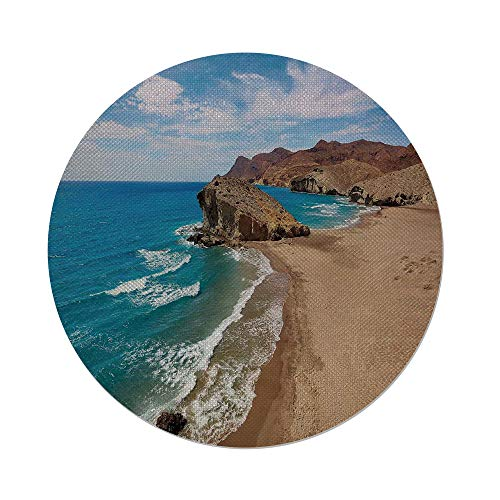 iPrint Cotton Linen Round Tablecloth,Landscape,Ocean View Tranquil Beach Cabo De Gata Spain Coastal Photo Scenic Summer Scenery,Blue Brown,Dining Room Kitchen Table Cloth Cover by iPrint