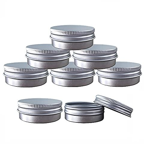 Aluminum Tin Jars, Cosmetic Sample Metal Tins Empty Container Bulk, Round Pot Screw Cap Lid, Small Ounce for Candle, Lip Balm, Salve, Make Up, Eye Shadow, Powder (6 Pack, 1 - Salve 2 Oz Cream
