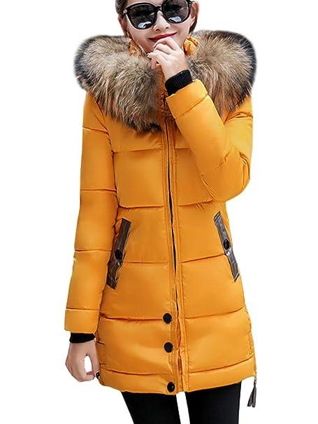ShallGood Mujer Abrigo Chaqueta Slim Fit Espesar Casual Cálido Invierno  Pelaje Collar Parka con Capucha Manga Larga Chaquetas Acolchado Anorak  Jacket ... e405233988d3