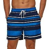 SILKWORLD Men's Swim Trunks with Mesh Lining Quick Dry SwimsuitSwimmingShorts, Navy/White/Blue Stripe, X-Large
