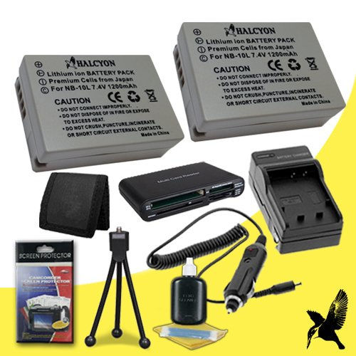 Two Halcyon 1200 mAH Lithium Ion Replacement NB-10L Battery and Charger Kit + Memory Card Wallet + SDHC Card USB Reader + Deluxe Starter Kit for Canon PowerShot SX50 HS 12.1 MP Digital Camera and Canon NB-10L