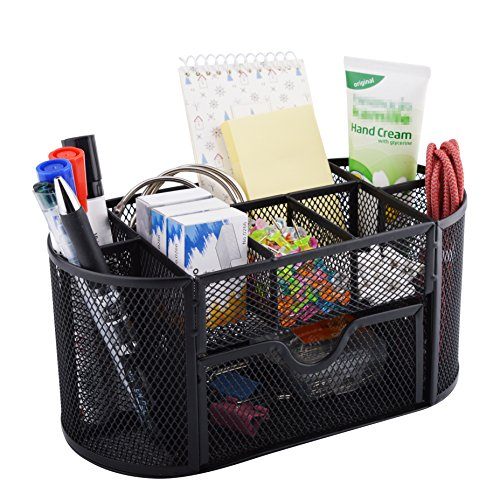Mesh Deep Desk Drawer Organizer (MaxGear Office Desk Organizer with 8 Compartments Mesh Pencil Cup Organizer Mesh Collection with Drawer desktop organizer for office, Black Steel)