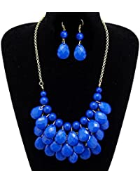 Vintage Beaded Bubble Bib Chunky Statement Pendant Necklace Earrings Set For Gifts