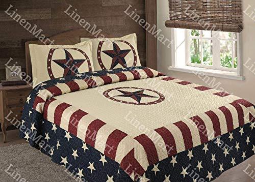- Linen Mart American Flag Western Star Bedspread Quilt - 3 Piece Set (King)