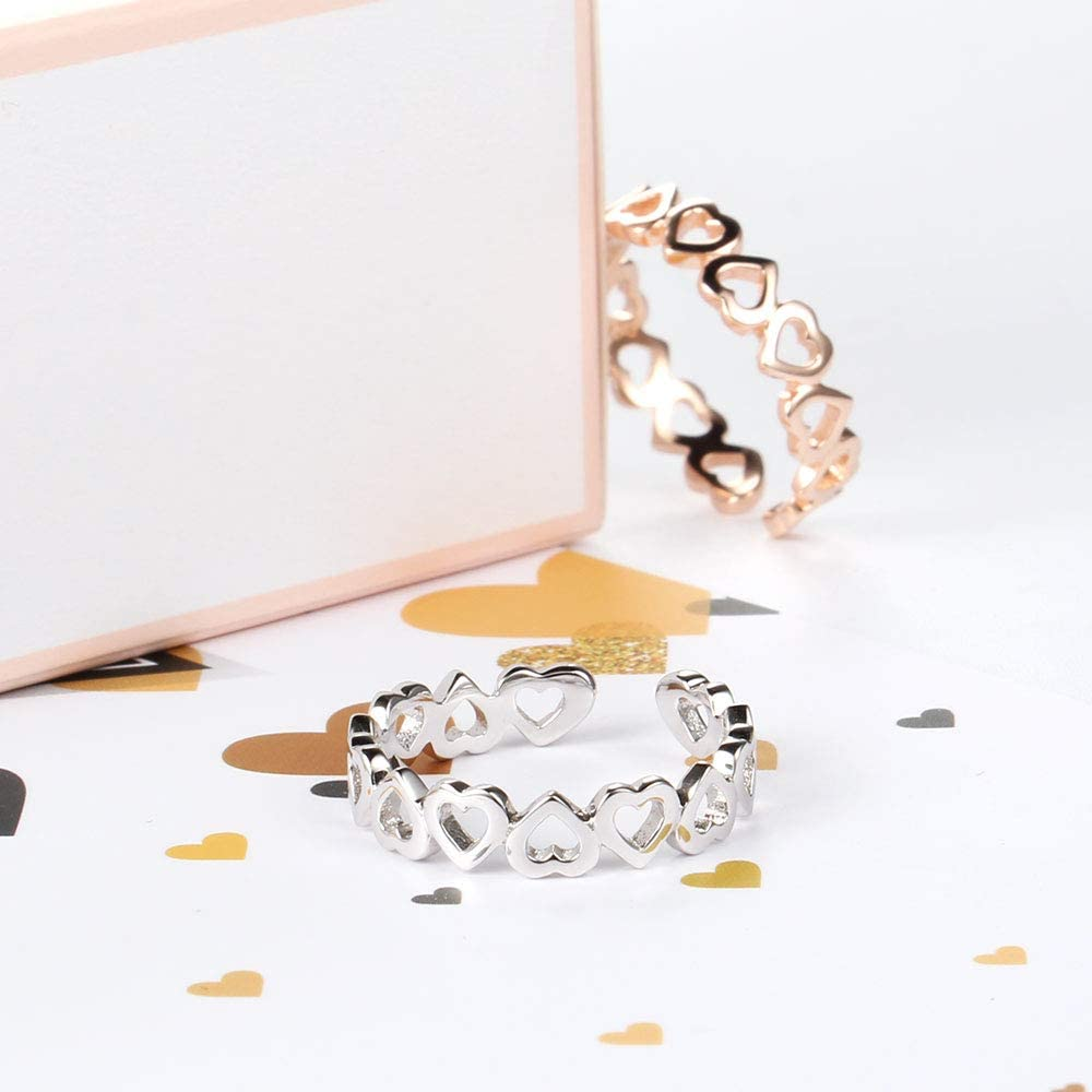 Cici Good Shop Korean Version of The Couple 925 Sterling Silver Ring Female Simple Hand-heartedly Printed Glossy Open Ring.