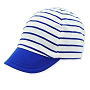 Keepersheep Baby Reversible Baseball Cap Infant Sun Hat, Shell Embroidery Cotton (Blue, 0-3 Months)