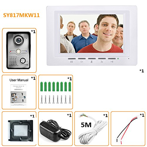 7'' Wired Video Door Phone Doorbell Intercom Systems for Home 1-camera 1-monitor Night Vision by Childplaymate (Image #5)