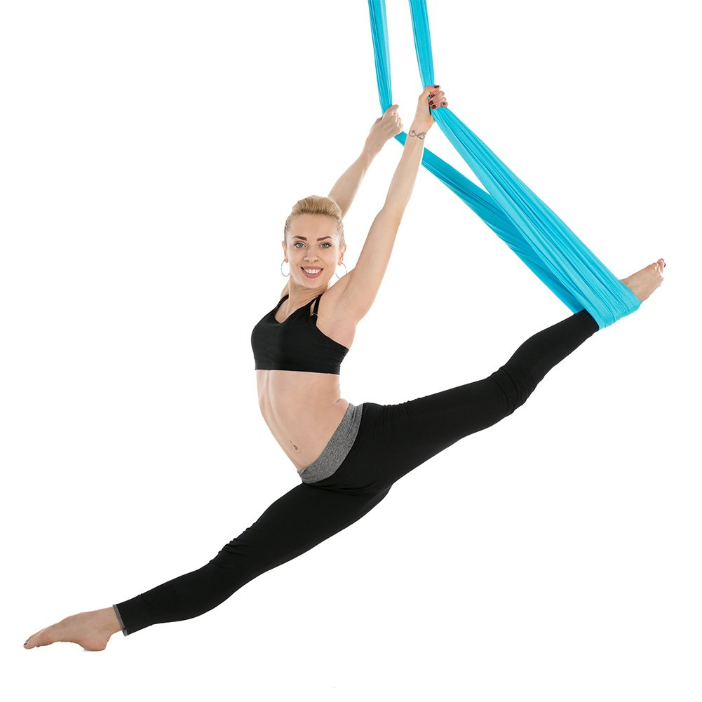 Tofern Aerial Yoga Hammock Kit 5.5 Yards Antigravity Trapeze Inversion Exercise Home Indoor Outdoor Yoga Silk Swing Sling Set with Hardware Ceiling Hooks Bolts 2 Extension Straps, Sky Blue by Tofern (Image #7)