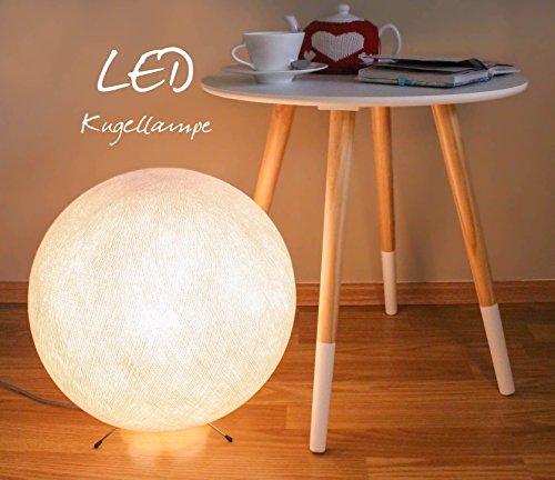 ⌀35cm handgearbeitete Kugellampe aus Baumwolle - LED Kugelleuchte in weiss, Lampe innen