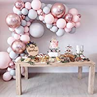 "Eanjia Balloon Arch & Garland Kit Double-Stuffed 5""-18"" Pastels Pink Gray Rose Gold Confetti Balloons Bulk 16ft for Wedding Baby Shower Birthday Party Shop Decoration (Pink)"