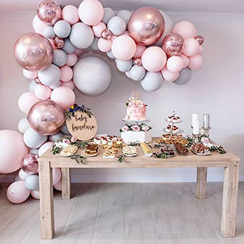 Eanjia Balloon Arch & Garland Kit Double-Stuffed 5-18 Pastels Pink Gray Rose Gold Confetti Balloons Bulk 16ft for Wedding Baby Shower Birthday Party Shop Decoration (Pink)